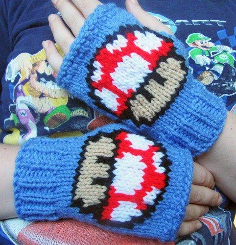Mario 1 Up Mushroom fingerless gloves knit fan art made to order