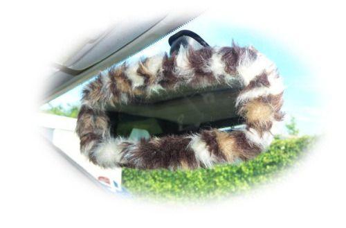 Leopard animal print faux fur furry fluffy fuzzy car mirror...