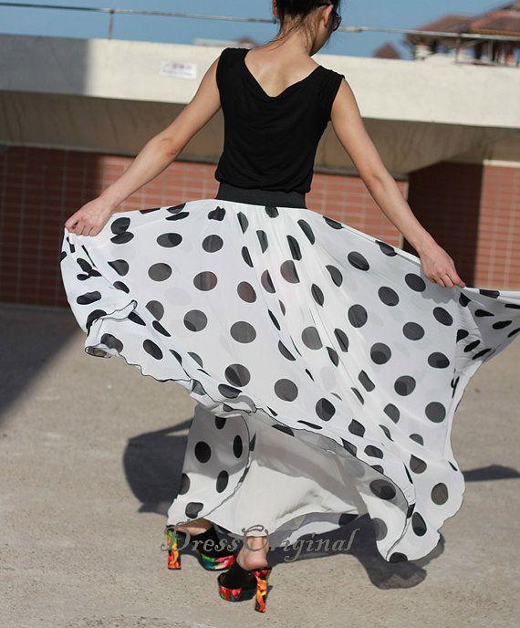 Blanche pointée maxi jupe double couches jupe longue mousseline de soie jupe été jupe étage jupe ★ matériel : qualité mousseline cette jupe de