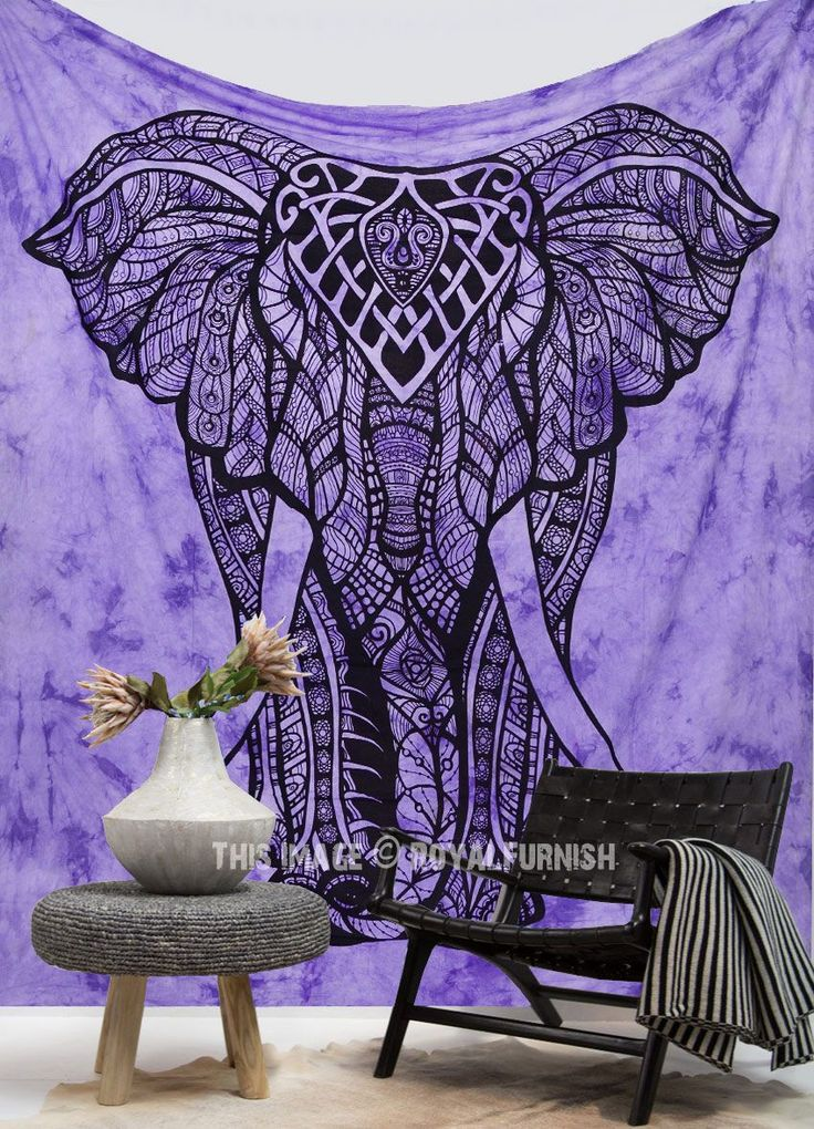 Purple Tie Dye Valentina Harper Ruby The Asian Elephant Tapestry Wall Hanging - RoyalFurnish.com