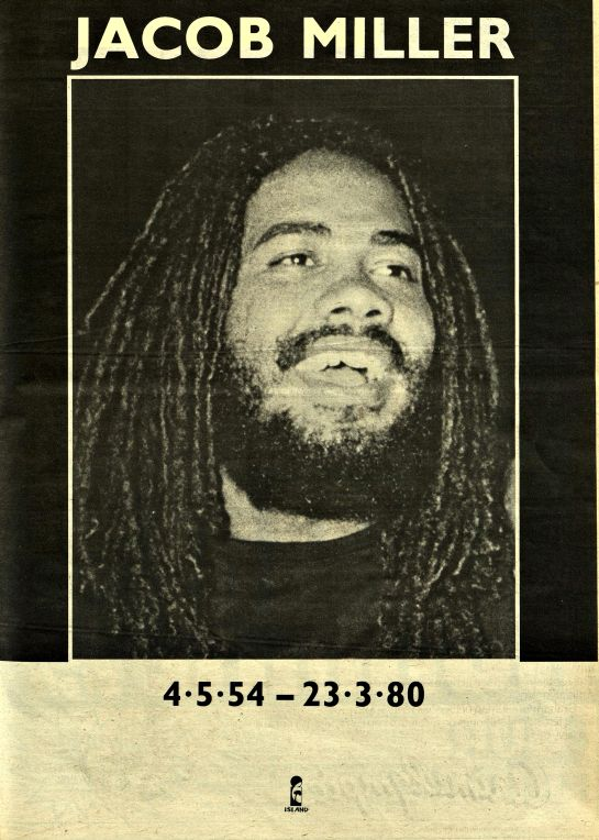 *Jacob Miller* New Musical Express, April 5, 1980. More fantastic pictures and videos of *Bob Marley & Jacob Miller* on: https://de.pinterest.com/ReggaeHeart/