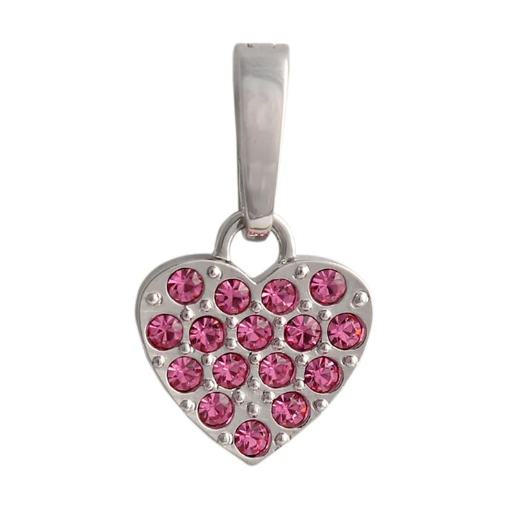 Silver Pink Crystal Heart Droplet This crystal heart droplet will leave you tickled pink. Encrusted with gemstones, it's the perfect addition to any locket design. Product Material - Zinc Alloy, Imitation Rhodium