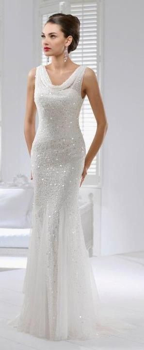 Gorgeous sparkly wedding gown and stunning classic makeup   thebeautyspotqld.com.au