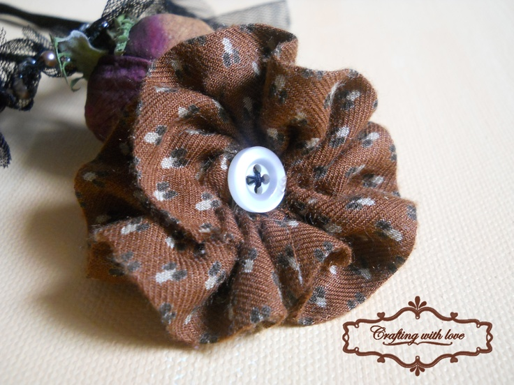 ~Brownie~Fabric handmade brooch.