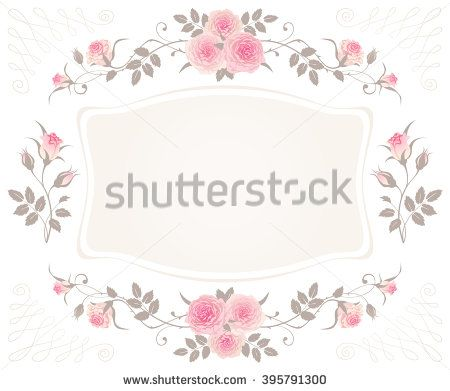 Vintage Floral Frame With Pink Roses Isolated On A White Background Shabby Chic Style Vector Design For Greeting Or Invitation Card