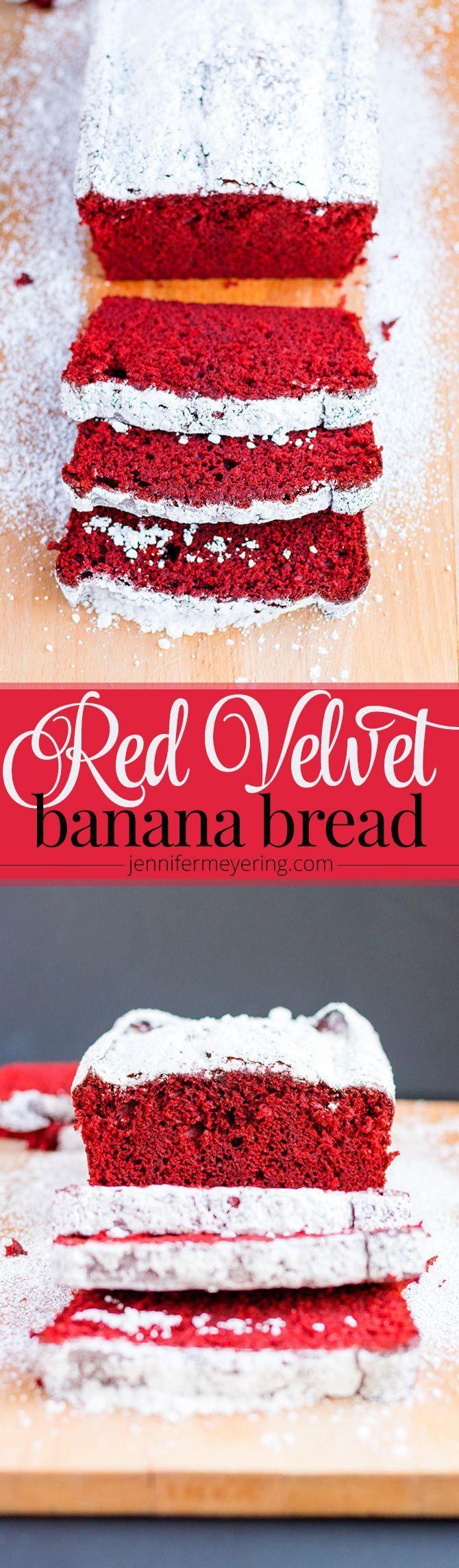 Red Velvet Banana Bread - JenniferMeyering.com