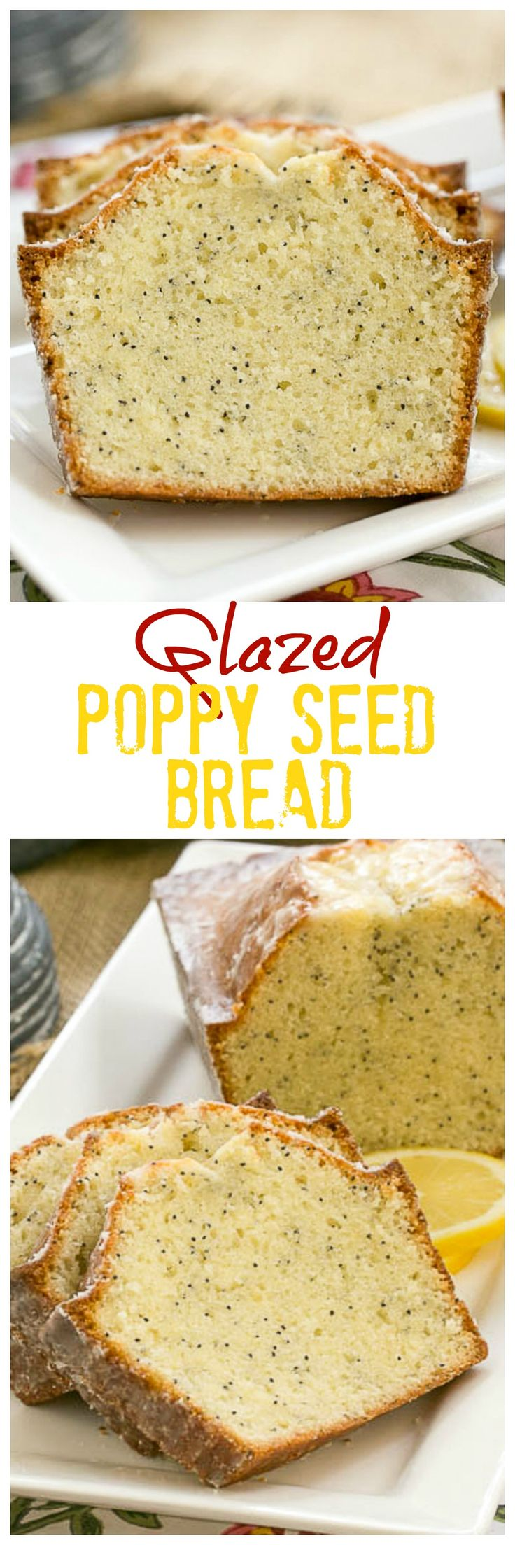Glazed Poppy Seed Bread | A moist quick bread flavored with vanilla and almond & topped with a lemon glaze @lizzydo