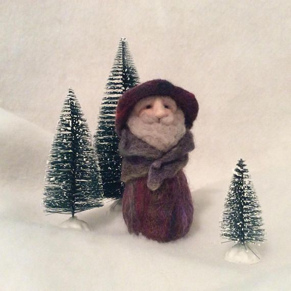 Special Sparkly Coated Whimsical Gnome Needle Felted Wool Home
