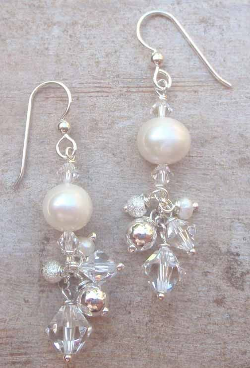 contemporary earrings with freshwater pearls and swarovski crystals