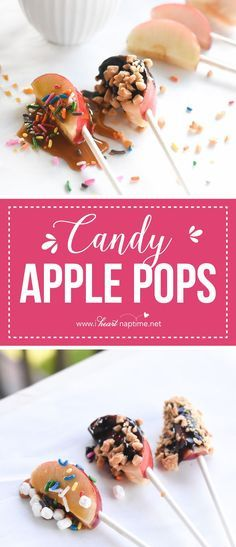 Candy Apple Pops... Candy Apple Pops a fun way to enjoy candy apples when entertaining! Let your guests choose over and over again what flavors theyd like to create! Recipe : http://ift.tt/1hGiZgA And @ItsNutella  http://ift.tt/2v8iUYW