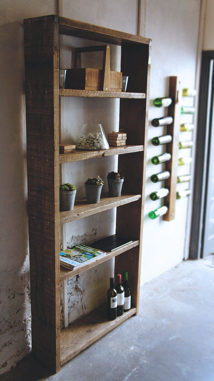 reclaimed wood scaffold shelving unit by on etsy