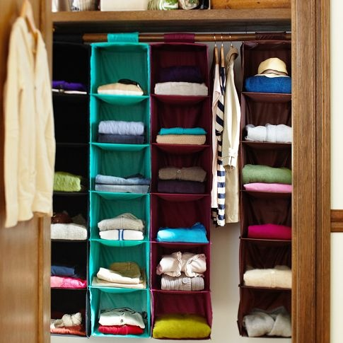 Hanging closet organizers. Great idea for a linen closet if you have no shelves.