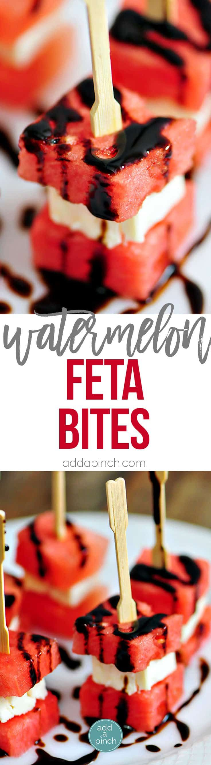 Watermelon Feta Bites Recipe - Watermelon Feta Appetizer Bites make a perfect appetizer that just screams summer! These easy, elegant Watermelon Feta Appetizer Bites come together quickly. // addapinch.com