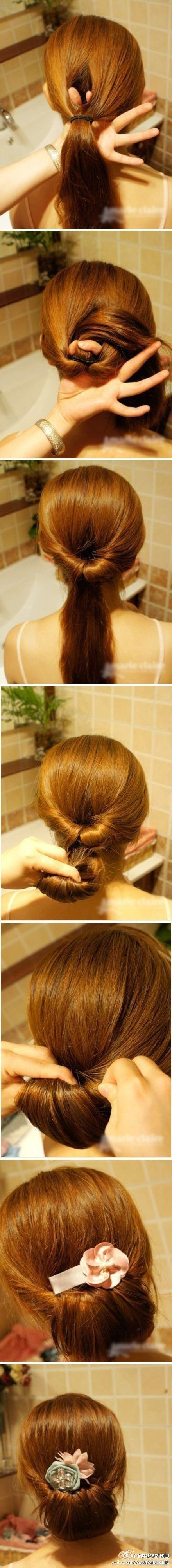 Flipped up pony updo. Before flipping round the second pony tail, back comb and spray some hairspray on it first to give it more volume and hold to stay in place.