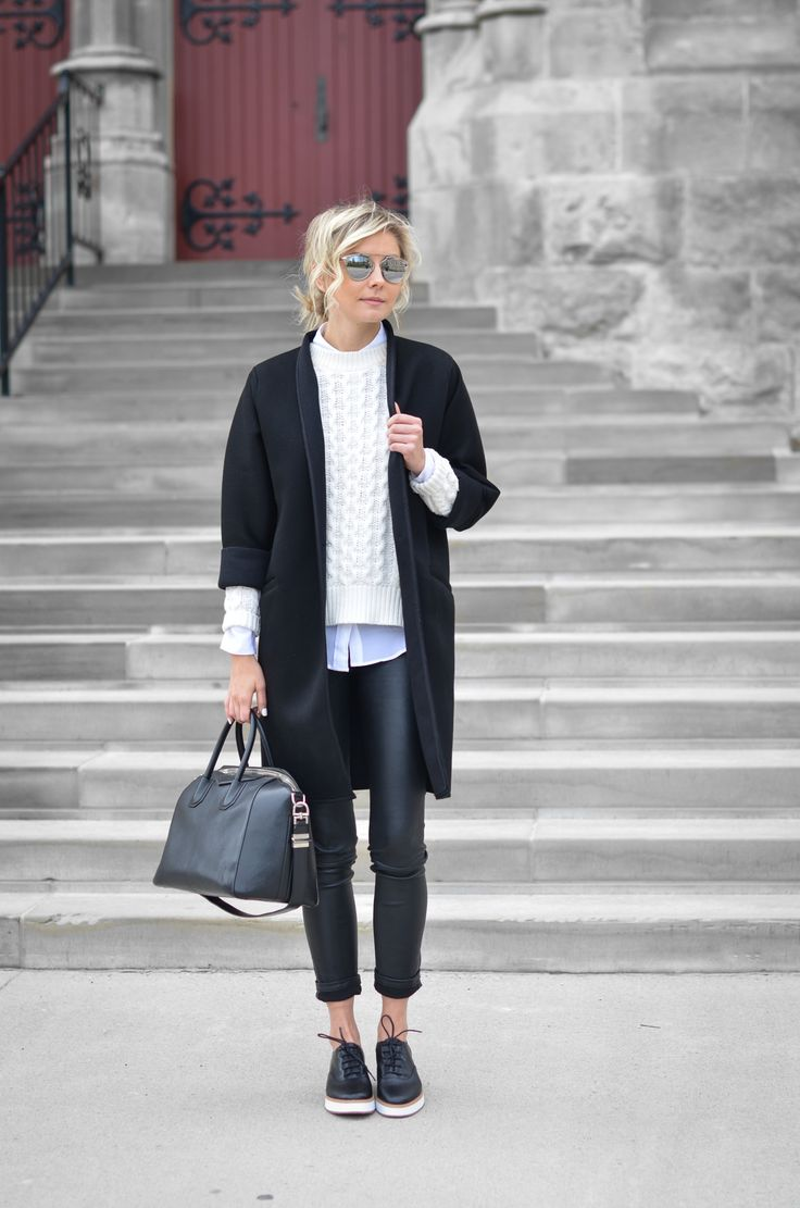 How to wear a black coat. Modern & Cool & Minimal Outfits to Work.