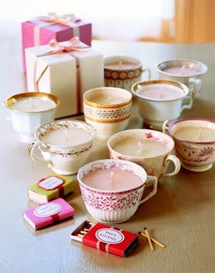 diy candles in cute vintage tea cups, perfect for Christmas gifts for aunts!