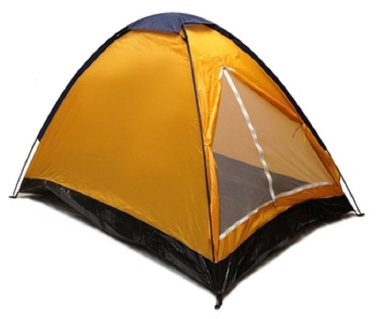 Orange DOME CAMPING TENT 7x5' - 2 Person, Two Man NAVY YELLOW