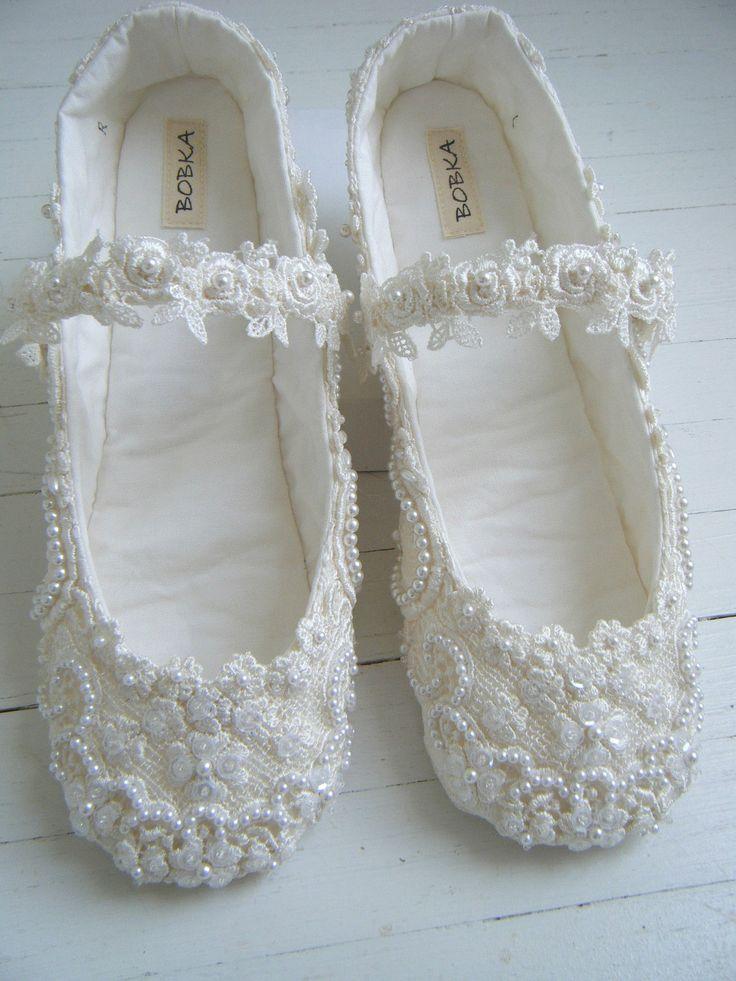 Ivory Lace Mary Jane Bridal Shoes Custom Made Wedding Flats Bobka Shoes By Bobka Baby 22500