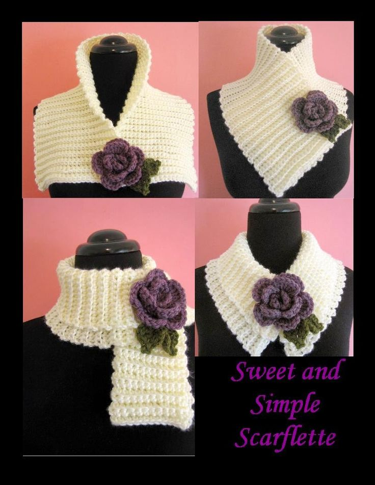 BellaCrochet: Sweet and Simple Scarflette with Rolled Rose: A Free Crochet Pattern For You