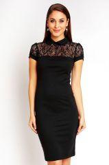 AKCE! Černé společenské šaty s krajkou a límečkem - KM SVATBY - SVATEBNÍ SALÓN