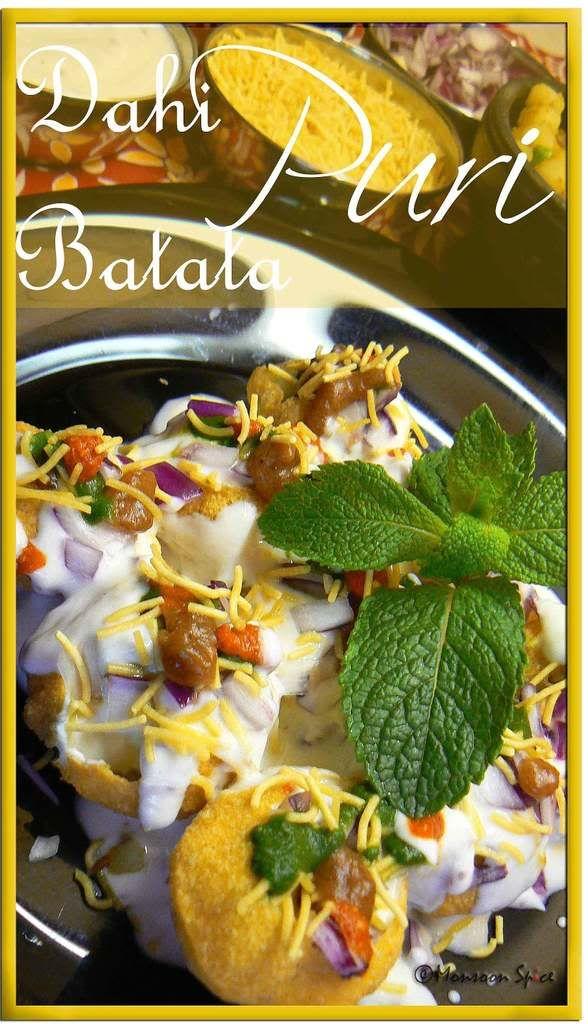 Dahi Batata Puri (spiced potatoes served with yogurt and 3 chutneys)