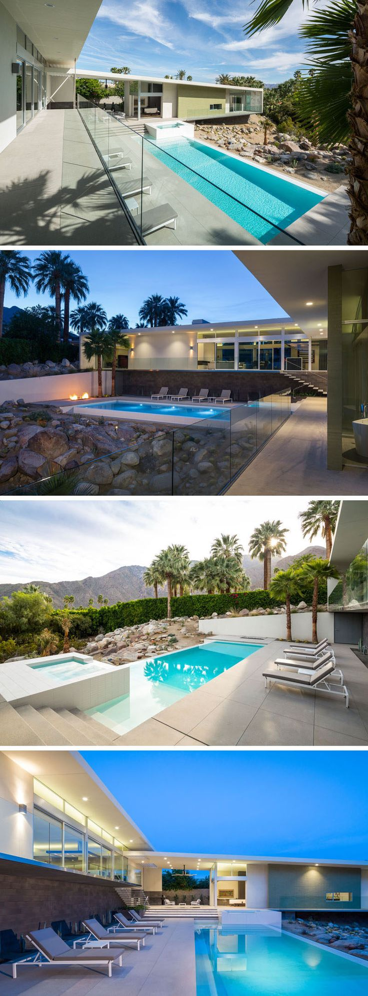 This pool and spa are surrounded by a concrete deck and rock garden.