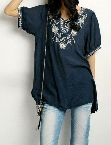 Embroidered blouse ethnic style boho mexican blouse summer dress Amazing!