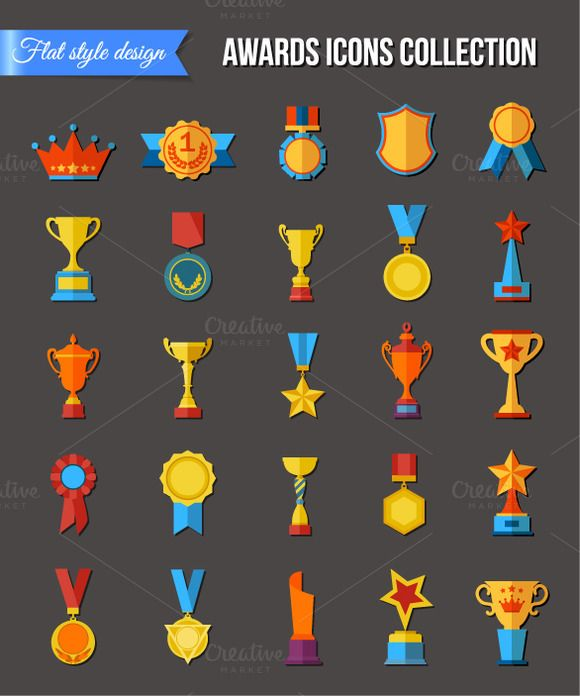 Set of flat trophy icons by Vectorgift on Creative Market