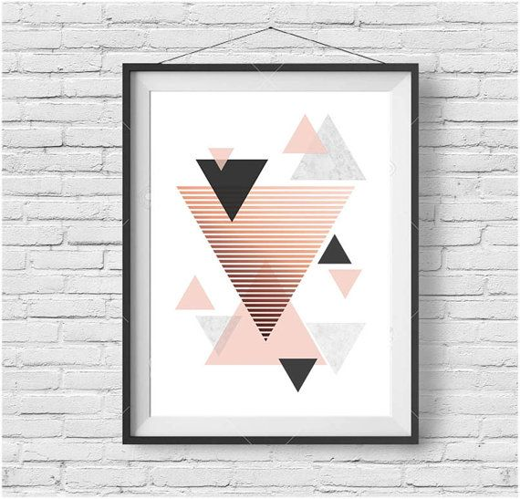 Rose Gold Art, Copper Print, Geometric Art, Blush Printable, Triangle Art, Rose Gold Decor, Scandinavian Print, Modern Art, Digital Print