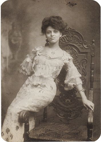 """1907     Minnie Brown, taken at White Studios, NY, 1907    From the link: """"She was an actress and singer. And also a member of the Williams & Walker Vaudevillian troupe. In 1920 she served as vice president for the National Association of Negro Musicians."""""""