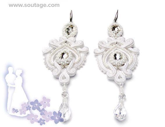 Veritas  handmade wedding bridal soutache earrings by SoutageAnka