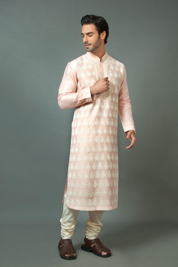 Pure silk kurta churidar embellished with resham embroidery. Item number M15-109