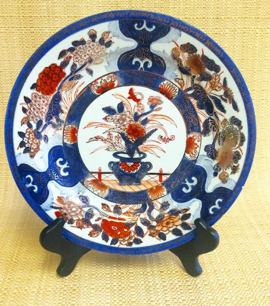 PKL the CELLAR  Parker Kennedy Living  Blue - orange - gold & white chinoiserie plate