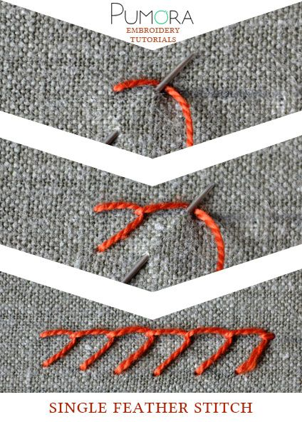 Pumora's lexicon of embroidery stitches: the single feather stitch