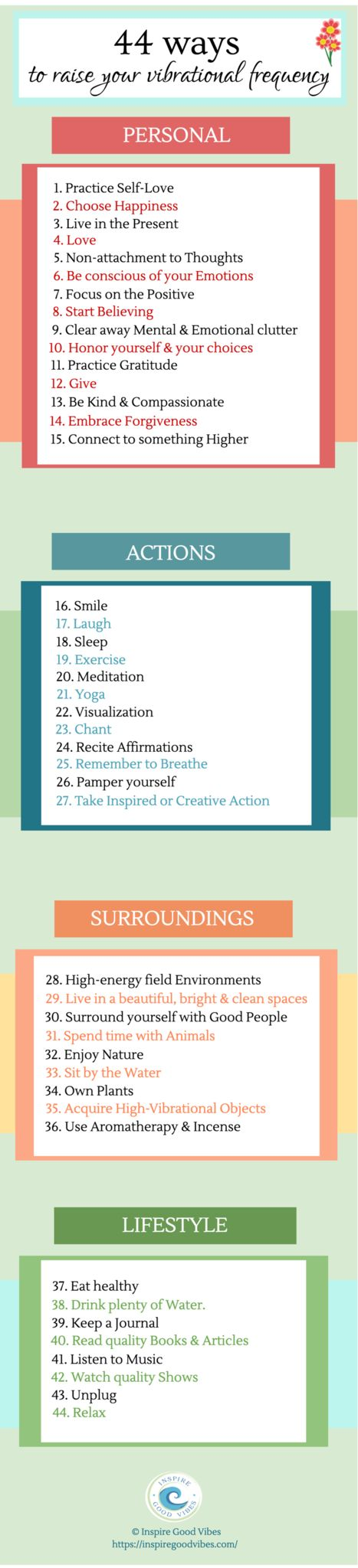 44 ways to raise your vibrational frequency infographic - check out the blog post for more details!