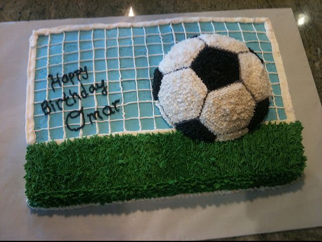Football Soccer cake by Sharon by Birthday Cakes 4 Free, via Flickr