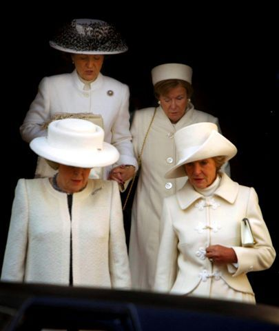 Queen Beatrix with sisters Princess Margriet, Christina and Irene at Juliana's funeral.