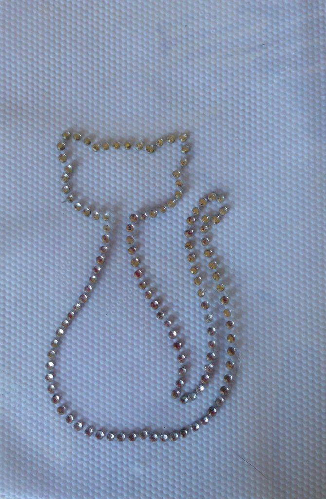 Applicazione/toppa strass hotfix termoadesivi sagoma gatto, by Le mani di Ema, 4,50 € su misshobby.com