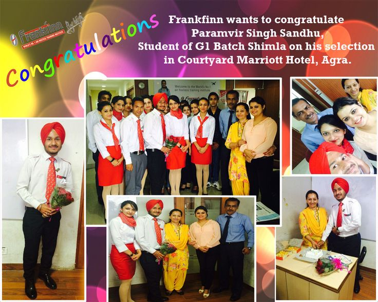 Frankfinn wants to congratulate Paramvir Singh Sandhu, Student of G1 Batch Shimla on his selection in Courtyard Marriot Hotel, Agra.
