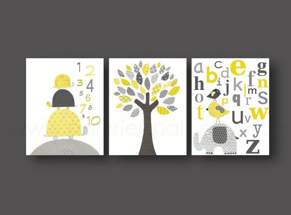 Nursery art, baby nursery decor, Kids, children art, yellow, gray, bird, Tree, turtle, numbers, elephant, alphabet, Set of three 8x10 prints