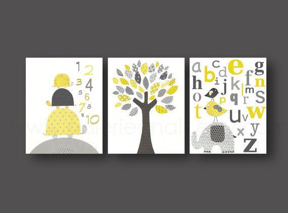 Nursery art, baby nursery decor, Kids, children art, yellow, gray, bird, Tree, turtle, numbers, elephant, alphabet, Set of three 8x10 prints