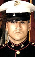 Marine LCpl. Hector Ramos, 20, of Aurora, Illinois. Died January 26, 2005, serving during Operation Iraqi Freedom. Assigned to 1st Battalion, 3rd Marine Regiment, 3rd Marine Division, III Marine Expeditionary Force, Marine Corps Base Hawaii. Died of injuries sustained when the CH-53E Sea Stallion helicopter he was being ferried in with others to secure an election polling place in the small town of Ashat crashed in a sandstorm near Rutbah, Anbar Province, Iraq.