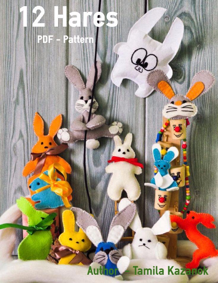 12 Bunnies Instant Download Easy Sewing PDF Patterns/ DIY Felt Bunny/ Stuffed Toy Animal Bunny Softie by Tamilashki on Etsy