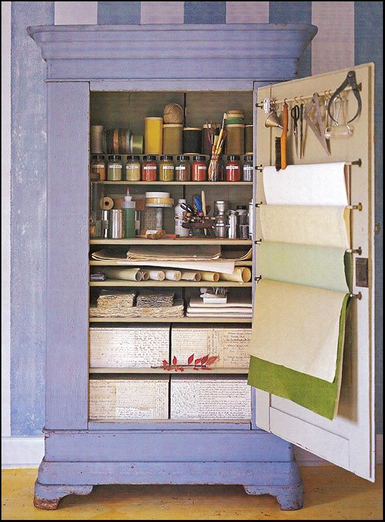 Cute idea for craft storage...Make this out of an old entertainment enter or armoire. http://craftingwithkimmy.com/organize/
