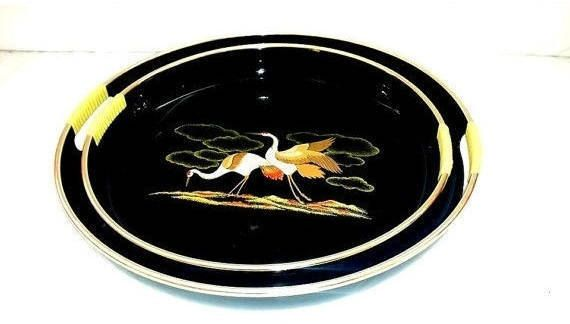 Vintage Lacquerware Trays with Handles,Serving Tray, Black Lacquerware,Trays with Cranes,Asian Tray,Serving Platter,Mid Century, 1960s