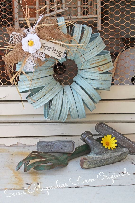 Wreath Canning Jar Lids Rustic Farmhouse by SweetMagnoliasFarm