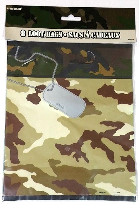 Army Camouflage Party Supplies | Military Party Loot Bags | Party Supplies and Decorations