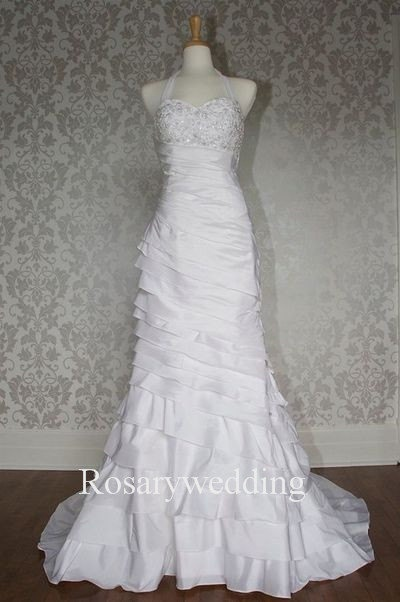 Elegant halter appliques multilayer taffeta bridal dress