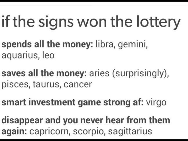 The Zodiac Book - Signs if they won the lottery - Wattpad
