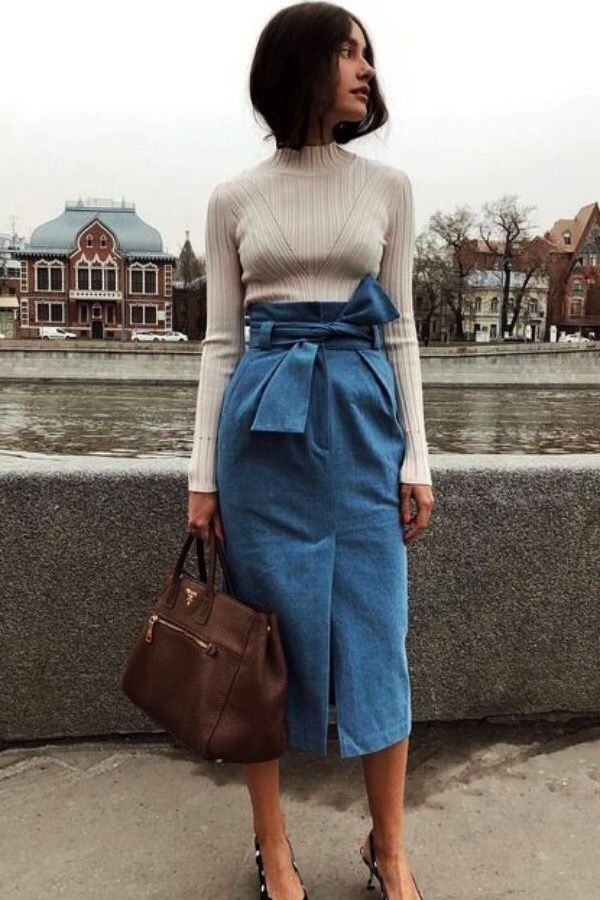 Casual Summer Outfits For Work. Women's Fashion. Office Ladies. Chic Style. White Sweater+Denim Skirt.